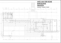 Mies van der Rohe Barcelona Pavilion Plans A3